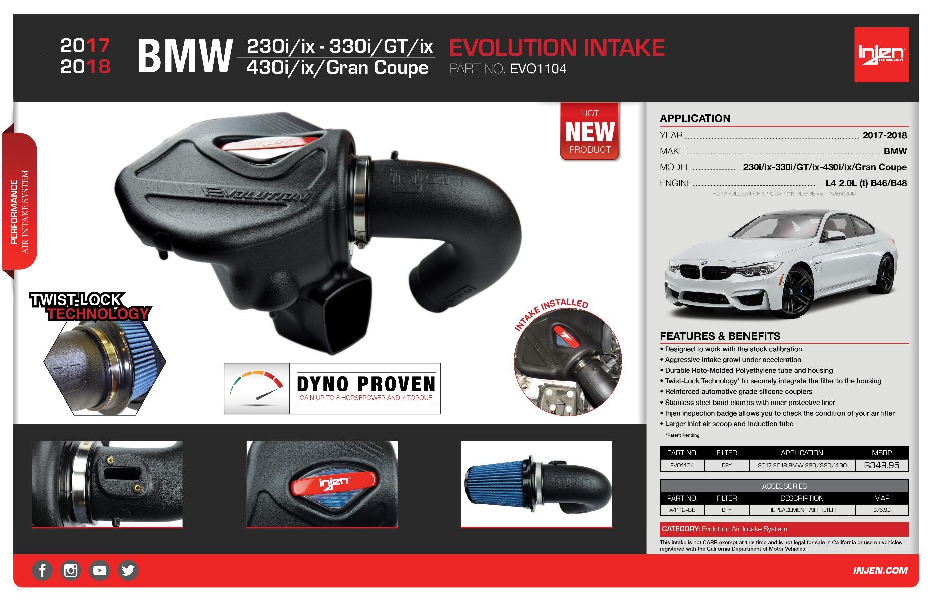 Injen Evolution Cold Air Intake System 2017-2018 BMW 230 / 330/ 430