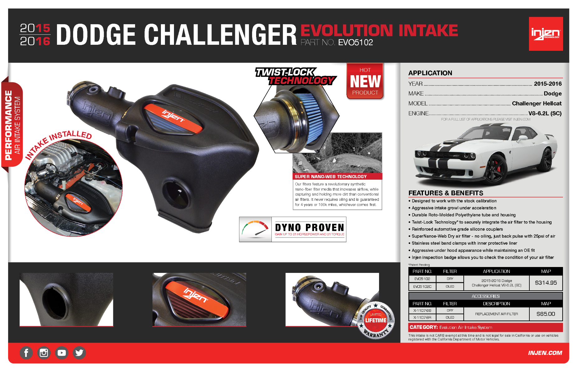 The Injen Evo5102 Check Out The All New Intake For The 2015 2016 Dodge Challenger And Charger Hellcat