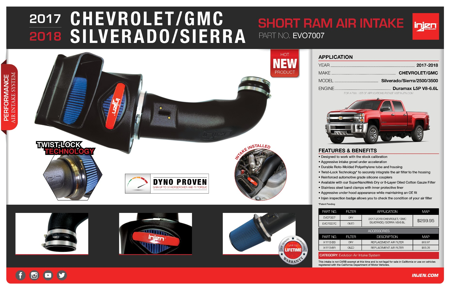 Injen Evo7007 Cold Air Intake System For The 2017 2018 Chevy Gmc Silverado Sierra 2500 3500 6 6l Turbo Diesel L5p V8